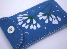 Felt phone case, i pod, gadget cover. Agapanthus flowers, summer blue