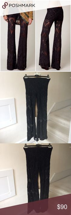 """Nightcap Free People RARE Lace Bell Bottoms Gorgeous and super intricate, these stretchy lace bells spawned a billion knockoffs and wannabe's, but these are the originals. Look and feel expensive, because they are. Nightcap is known for their lace. Size """"3"""" should fit a size small. approx. measurements: waist 13"""" inseam 32"""" rise 9 1/2"""". Lined with super soft inner shorts; elastic waistband; semi sheer stretch lace outer. Preloved and have pulling throughout with wear on hem but still have a…"""