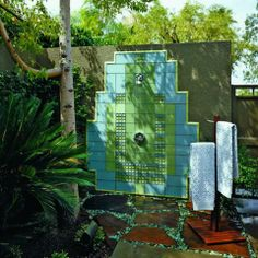 Modern Outdoor Shower Design Ideas - I love the blue and green colors!
