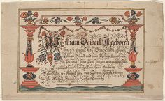 Birth and Baptismal Certificate (Geburts und Taufschein) for William Deibert - Fraktur