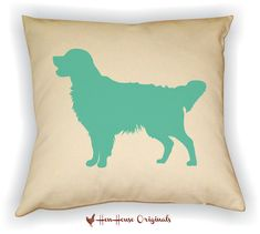 Golden Retriever Pillow Cover. This pillow cover features the silhouette of the beautiful Golden Retriever dog. Our covers are decorated using