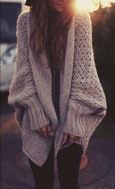 Oversized sweater with skinny jeans, tight shirt, and army booties or sexy platform heels and presto.