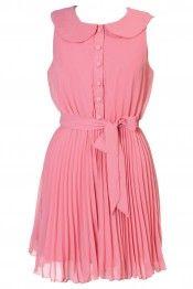Rare pink pleated peter pan dress