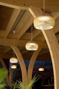 Look up! Our Atto 5000 pendant light adding wooden roundness to the ceiling of the Educational centre for Durability, Duurzaamheidscentrum in Assen, The Netherlands. Photo by Ellen Swaan.