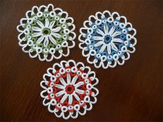 Three beautiful little Handcrafted Tatted Round Doily.