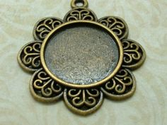 5 x Pendant Setting, Antiqued Bronze Cabochon Tray  (25mm) BUS07-03