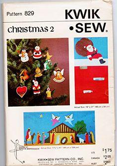 Kwik Sew Christmas Pattern 829 Wallhanging Manger Cardholder Ornaments Uncut FF Kwik Sew, Amazon Art, Sewing Stores, Sewing Crafts, Sewing Patterns, Arts And Crafts, Card Holder, Ornaments, Christmas Patterns