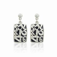 High Quality Fashion Swarovski Element Crystal Black Number Women Cheap Earrings DC33E3403 $8.25