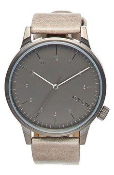 Komono 'Winston Regal' Leather Strap Watch, 42mm / @nordstrom #nordstrom