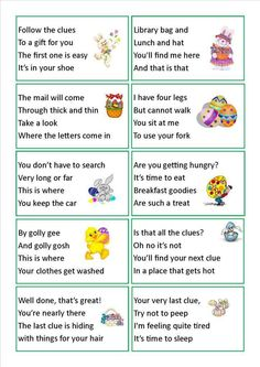 Egg Hunt clues for big kids