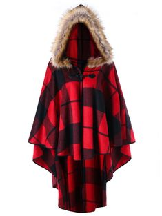 Find DEZZAL Women's Plus Size Classic Plaid High Low Faux Fur Hooded Cape Cloak online. Shop the latest collection of DEZZAL Women's Plus Size Classic Plaid High Low Faux Fur Hooded Cape Cloak from the popular stores - all in one Plus Size Outerwear, Plus Size Coats, Winter Coats Women, Coats For Women, Clothes For Women, Curvy Fashion, Plus Size Fashion, Men Fashion, Plaid Fashion