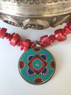 Vintage Coral Necklace with Turkish Pendant