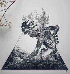 Original artwork, traditional art, ink drawing for Inktober Fire Element Tattoo Sketches, Tattoo Drawings, Art Sketches, Dark Art Drawings, Cool Drawings, Arte Obscura, Skeleton Art, Creepy Art, Tattoo Ideas
