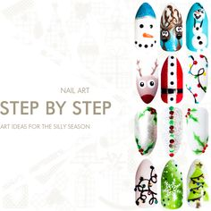 Bio Sculpture Gel Christmas nail art - hand painted gel nail art for the silly season