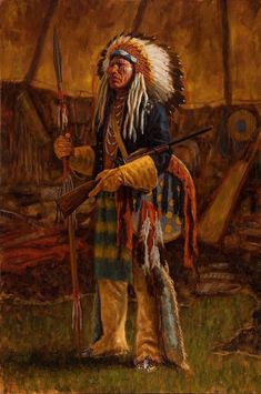 Evidence of Victory from 2016. A victorious Cheyenne warrior strikes a dramatic pose in his tepee before heading out to another battle. He wears gauntlet gloves taken from a soldier he has felled - a visible emblem of this warrior's courage and success in warfare.  Read more on my site, here: http://www.jamesayers.com/evidence-of-victory-cheyenne/  Please share!