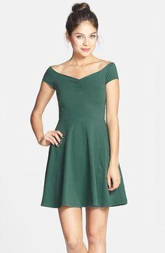 Frenchi® Off-Shoulder Fit & Flare Dress (Juniors) | Nordstrom