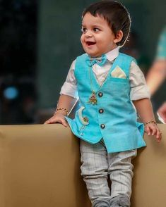 Royal blue designer vest for kids boys To inquire whatsapp 918888328116 or ethnicdiagmailcom Boys Party Wear, Kids Wear Boys, Kids Party Wear Dresses, Kids Dress Wear, Baby Outfits, Mom And Son Outfits, Mom And Baby Dresses, Kids Outfits, Baby Boy Dress