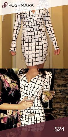 Black and white long sleeve V neck dress Super comfortable, great material. Deep V neck (can still wear a bra) worn once! WINDSOR Dresses Long Sleeve