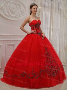 Sexy Red Sweet 16 Quinceanera Dress Sweetheart Tulle Appliques Ball Gown