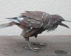Schrott-Metall-Skulptur, lebensgroße Raven, einzigartige Kunst Arbeit, zurückgefordert Kunst Stahl, Schrott, Metall Vogel