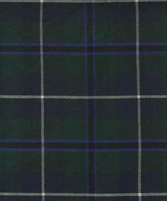 Douglas tartan - Primarily forest green with dark blue, accented with checks of black, royal blue and white.