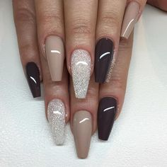 """Hazelnut Fudge"", Diamond och ""Earth"" love the shape Fabulous Nails, Gorgeous Nails, Pretty Nails, Fancy Nails, Love Nails, Acrylic Nails, Gel Nails, Coffin Nails, Nail Nail"