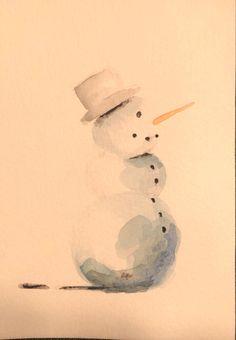Das war eine meiner ersten Karten und ich liebe das Motiv. #schneemann #schnee #winter #karottennase #aquarell #malen #diy #weihnachtskarten #weihnachtskartenbasteln #snowman Snowman, Holiday, Christmas, Bullet Journal, Watercolor, Abstract, Create, Drawings, Winter