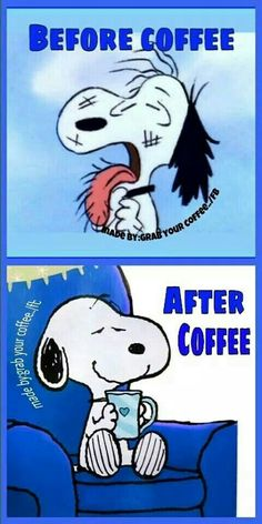 Snoopy before and after coffee! Brought to you for your enjoyment by Just-In-Cas… Snoopy before and after coffee! Snoopy Love, Charlie Brown And Snoopy, Snoopy And Woodstock, I Love Coffee, My Coffee, Morning Coffee, Coffee Plant, Coffee Menu, Coffee Poster