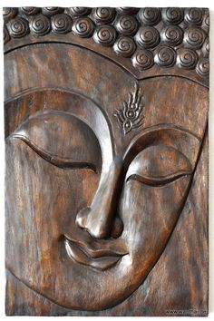 http://www.wanthai.de/Buddha-thailaendischer-Buddha-Holz-Gesicht-Wandbild-dunkel