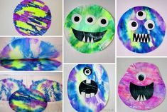 Use coffee filters to mix primary marker and create secondary monsters Halloween Arts And Crafts, Halloween Kids, Baby Crafts, Toddler Crafts, Crafts For Teens, Diy For Kids, Alien Crafts, Monster Crafts, Sistema Solar