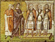 Basilica di Sant'Apollinare Nuovo, Ravenna. Mosaici dell'inizio del VI secolo. Cristo davanti al Sinedrio. Il periodo di Teodorico
