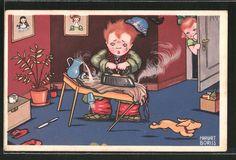 Künstler-AK Margret Boriss: Kleiner Kerl mit Bügeleisen 0