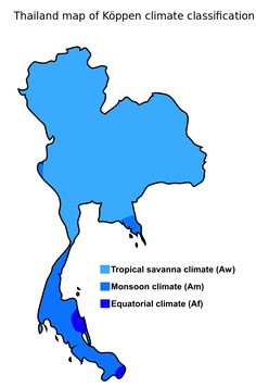 Thailand map of Köppen climate classification - Thailand - Thailand map of Köppen climate classification.
