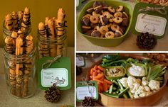 """Winnie the Pooh Themed Menu: tigger Tails, pigs in a blanket, rabbits garden, owl cup cakes, """"hunny"""" roasted nuts, hundred acre woods acroms, Handmade by Meg K: birthday"""