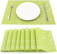 SueH Design Set of 8 Woven Vinyl Green Leaves Placemat 45 * Design Set, Placemat, Green Leaves, Free Delivery, Your Favorite, Amazon, Kitchen, Amazons, Cooking