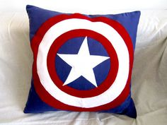 Items similar to Captain America Cushion on Etsy Captain America Quotes, Superhero Room, Girls Camp, Cushions, Pillows, Chicago Cubs Logo, Baby Quilts, Nerdy, Avengers