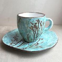 Thee paar bonte gras. Keramiek en aardewerk. | Etsy Hand Built Pottery, Slab Pottery, Pottery Mugs, Ceramic Pottery, Thrown Pottery, Ceramic Bowls, Ceramic Art, Cerámica Ideas, Pottery Supplies