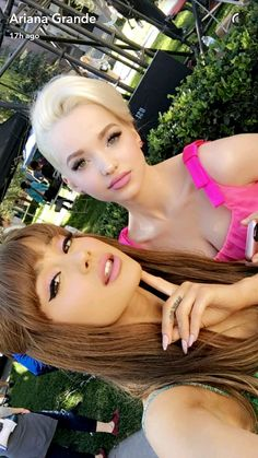 Ariana Grande December 2016 Snapchat post with Dove Cameron on the set of Hairspray Live!