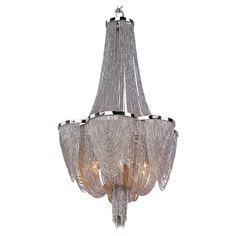 Dramatically draped with nickel-finished chains, this striking chandelier casts an ornate glow over your master suite or dining room decor.