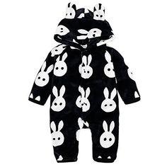 fe145fe61944a Bebone Baby Kids Rabbit Watermelon Flannel Romper BLACK RABBIT1218M Kids  Snow Gear