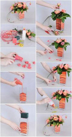 flower arrangements tutorial but this is Ikebana? I am doubted. Ikebana Arrangements, Ikebana Flower Arrangement, Beautiful Flower Arrangements, Floral Arrangements, Flower Boxes, Diy Flowers, Flower Decorations, Paper Flowers, Flowers Vase