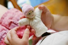 Pocket Doll made from solo kid socks, like a mini Waldorf doll.