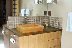meuble salle de bain bambou et vasque poser rectangulaire en bambou