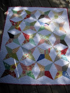 Periwinkle Stars Baby Quilt by WoodenNeedleNook