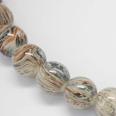 20 Glass Round Beads Brown and Black Stripe by OverstockBeadSupply