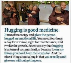 Happiness Is. In hugs. Based on this stat it's 12 hugs a day from now on. For Your Health, Health And Wellness, Mental Health, Health Tips, Health Facts, Good To Know, Feel Good, Forms Of Communication, A Course In Miracles
