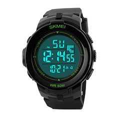 Mens Digital Sports Watch LED Screen Large Face and Waterproof Casual Backlight Watch Green >>> Check out this great product.Note:It is affiliate link to Amazon.