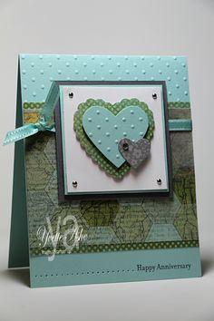 Stampin' Up! Epic Day Designer series paper, Hearts a Flutter Framelits, Perfect polka dots embossing folder;  Yvette's Paper Garden