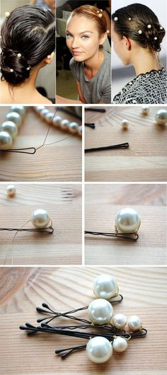 Make gorgeous Pearl hairpins that are like the ones in Chanel's ethereal runway show!