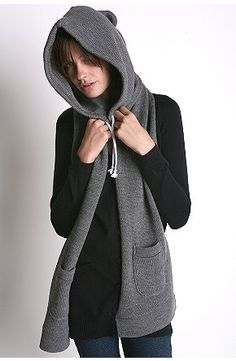 hooded scarves, such a great idea for those of us who don't have a hood on our winter coats.